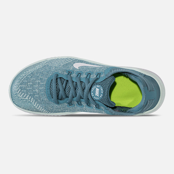 Top view of Girls' Grade School Nike Free RN 2018 Running Shoes in Noise Aqua/White/Igloo/Pure Platinum