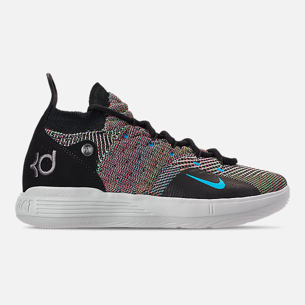 Right view of Boys' Big Kids' Nike Zoom KD11 Basketball Shoes in Black/Chlorine Blue/Persian Violet