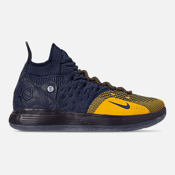 Right view of Boys' Big Kids' Nike Zoom KD11 Basketball Shoes in College Navy/University Gold