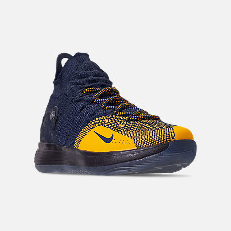 Three Quarter view of Boys' Big Kids' Nike Zoom KD11 Basketball Shoes in College Navy/University Gold