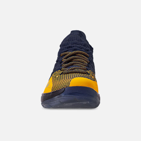 Front view of Boys' Big Kids' Nike Zoom KD11 Basketball Shoes in College Navy/University Gold
