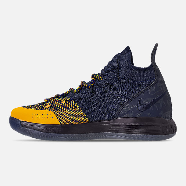 Left view of Boys' Big Kids' Nike Zoom KD11 Basketball Shoes in College Navy/University Gold