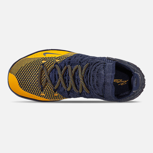 Top view of Boys' Big Kids' Nike Zoom KD11 Basketball Shoes in College Navy/University Gold
