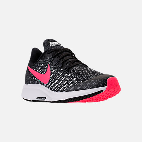 Three Quarter view of Girls' Big Kids' Nike Air Zoom Pegasus 35 Running Shoes in Black/Racer Pink/White/Anthracite
