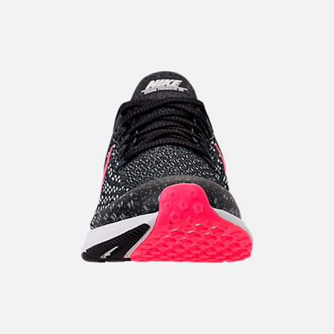 Front view of Girls' Big Kids' Nike Air Zoom Pegasus 35 Running Shoes in Black/Racer Pink/White/Anthracite