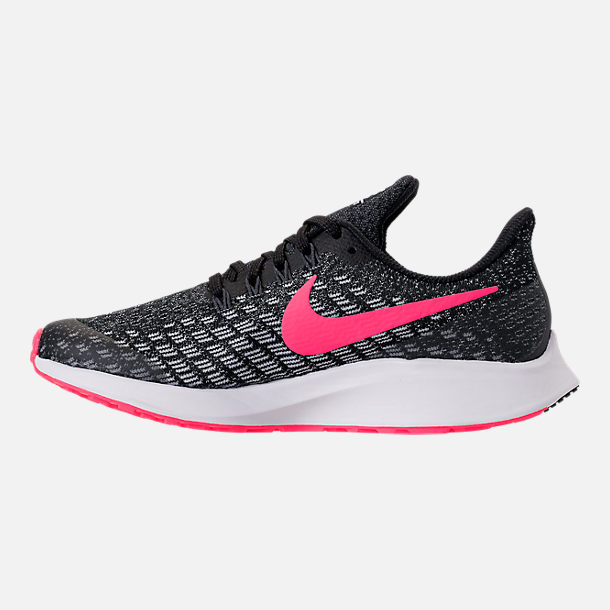 Left view of Girls' Big Kids' Nike Air Zoom Pegasus 35 Running Shoes in Black/Racer Pink/White/Anthracite