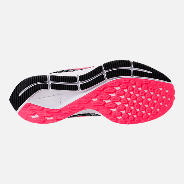 Bottom view of Girls' Big Kids' Nike Air Zoom Pegasus 35 Running Shoes in Black/Racer Pink/White/Anthracite