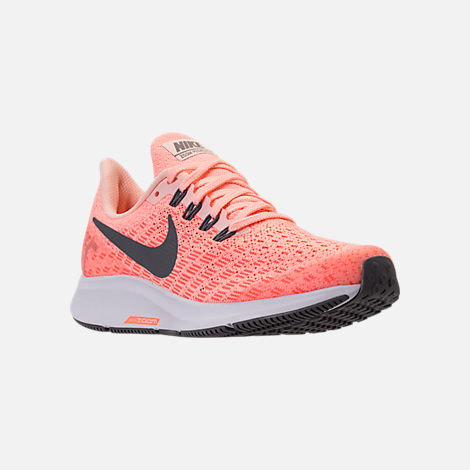 Three Quarter view of Girls' Grade School Nike Air Zoom Pegasus 35 Running Shoes in Crimson Tint/Gunsmoke/Crimson Pulse