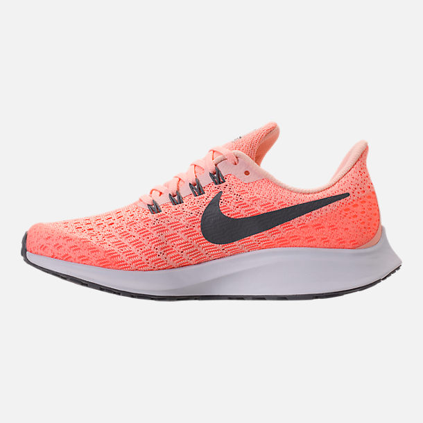 Left view of Girls' Grade School Nike Air Zoom Pegasus 35 Running Shoes in Crimson Tint/Gunsmoke/Crimson Pulse