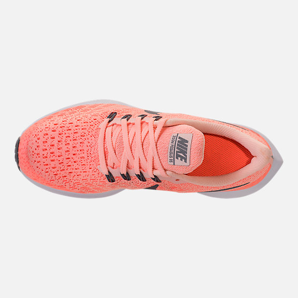 Top view of Girls' Grade School Nike Air Zoom Pegasus 35 Running Shoes in Crimson Tint/Gunsmoke/Crimson Pulse