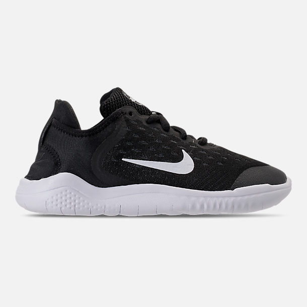 Right view of Boys' Little Kids' Nike Free RN 2018 Running Shoes in Black/White