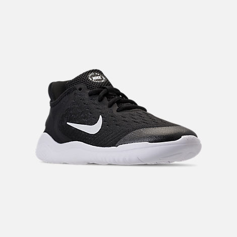 Three Quarter view of Boys' Little Kids' Nike Free RN 2018 Running Shoes in Black/White