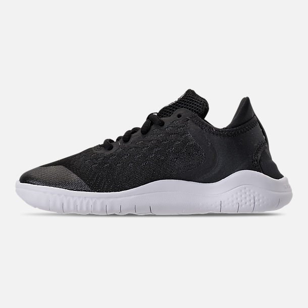 Left view of Boys' Little Kids' Nike Free RN 2018 Running Shoes in Black/White