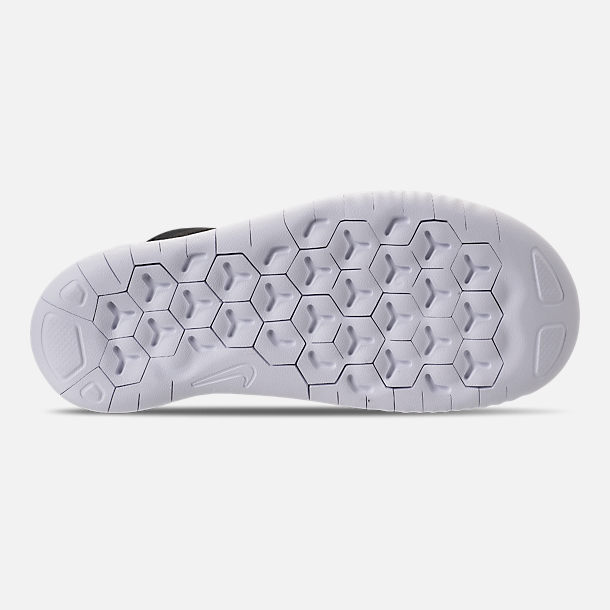 Bottom view of Boys' Little Kids' Nike Free RN 2018 Running Shoes in Black/White