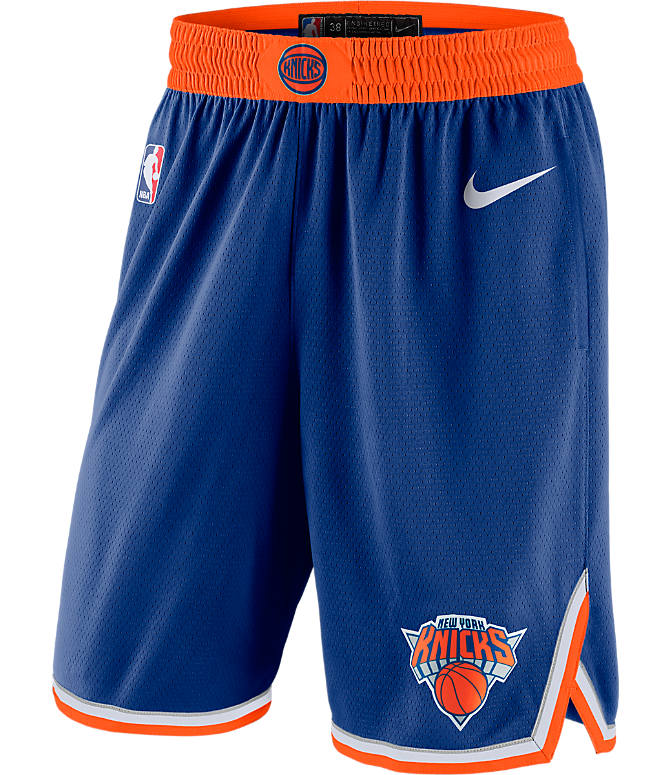 Front view of Men's Nike New York Knicks NBA Icon Edition Swingman Basketball Shorts in Rush Blue