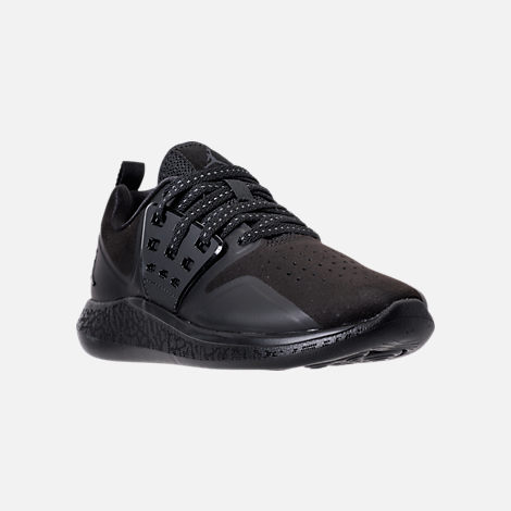 Three Quarter view of Boys' Grade School Jordan Grind Running Shoes in Black/Anthracite