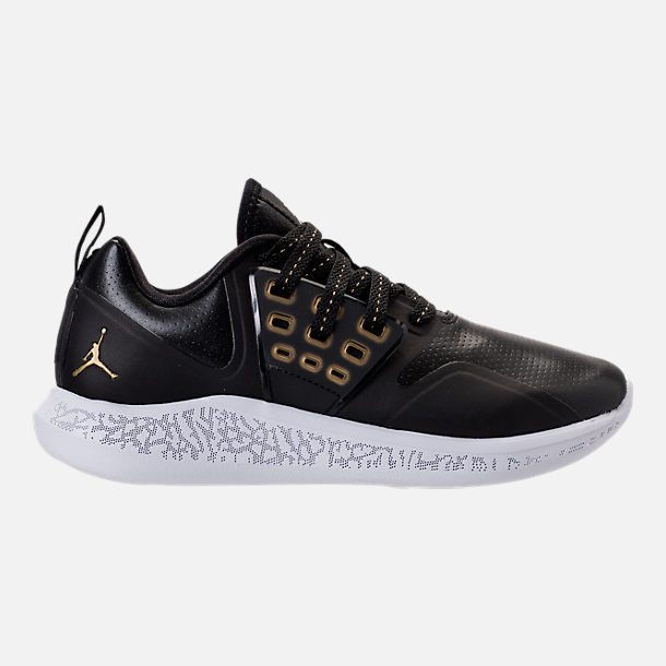 Right view of Boys' Grade School Jordan Grind Running Shoes in Black/Metallic Gold/White
