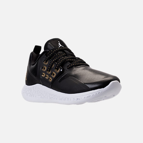 Three Quarter view of Boys' Grade School Jordan Grind Running Shoes in Black/Metallic Gold/White