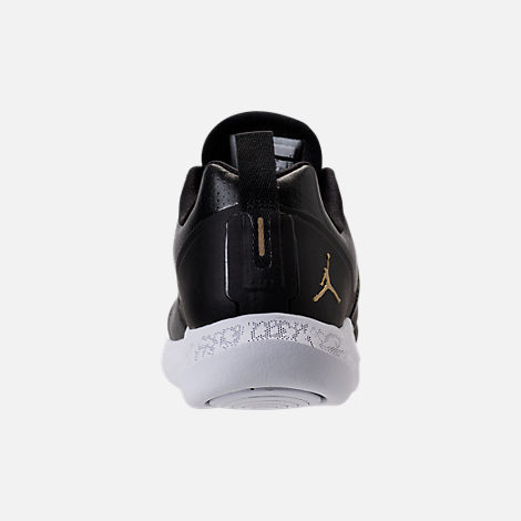 Back view of Boys' Grade School Jordan Grind Running Shoes in Black/Metallic Gold/White