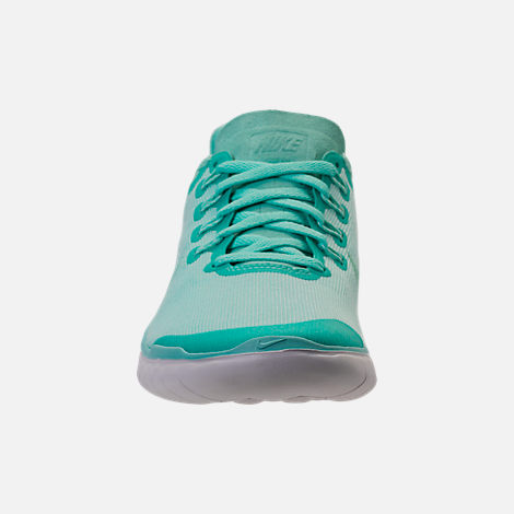 Front view of Women's Nike Free RN 2018 Running Shoes in Island Green/Igloo/Vast Grey