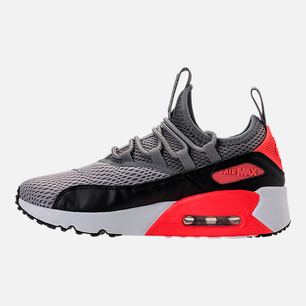 Left view of Boys' Grade School Nike Air Max 90 Ultra 2.0 Ease Casual Shoes in Wolf Grey/Cool Grey/Black/Bright Crimson
