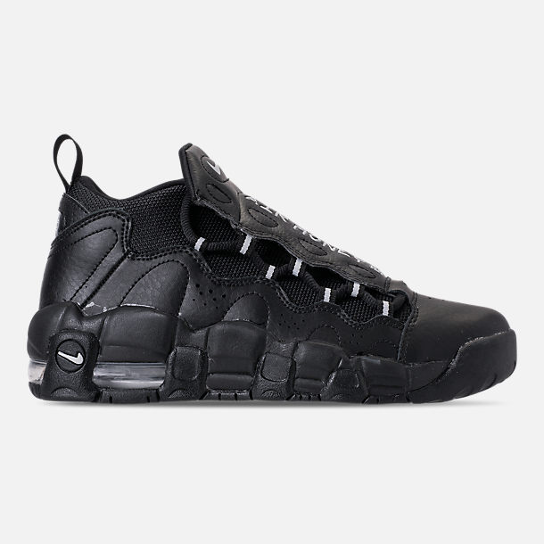 Right view of Kids' Grade School Nike Air More Money Casual Shoes in Black/Metallic Silver/Pure Platinum
