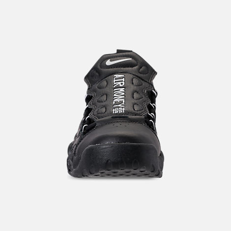 Front view of Kids' Grade School Nike Air More Money Casual Shoes in Black/Metallic Silver/Pure Platinum