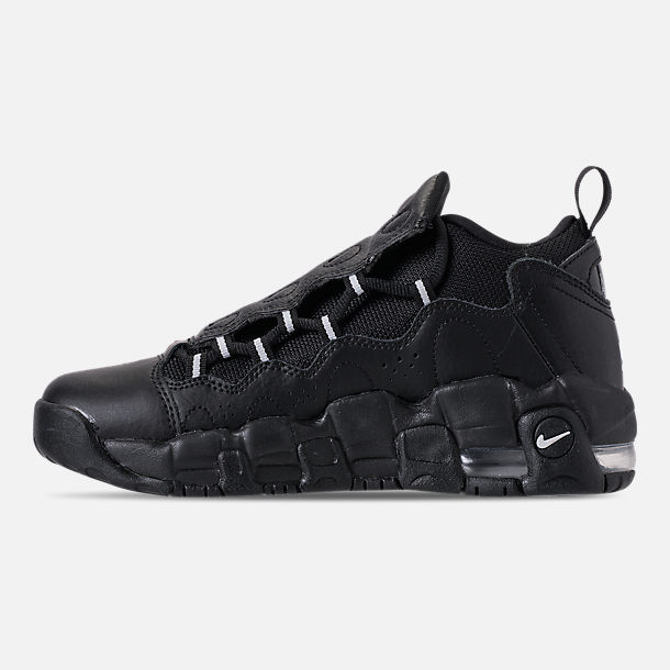 Left view of Kids' Grade School Nike Air More Money Casual Shoes in Black/Metallic Silver/Pure Platinum