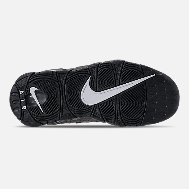 Bottom view of Kids' Grade School Nike Air More Money Casual Shoes in Black/Metallic Silver/Pure Platinum