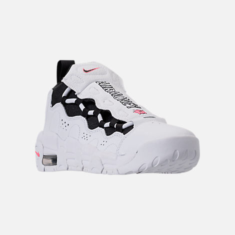Three Quarter view of Kids' Grade School Nike Air More Money Basketball Shoes in White/Black/Coral/Chalk