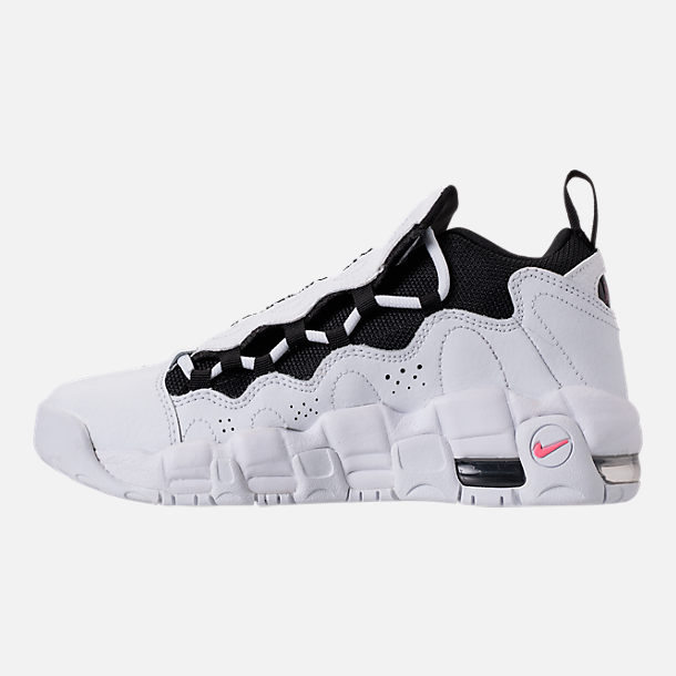 Left view of Kids' Grade School Nike Air More Money Basketball Shoes in White/Black/Coral/Chalk