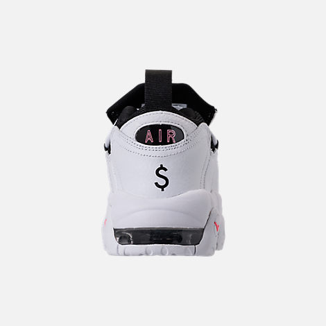 Back view of Kids' Grade School Nike Air More Money Basketball Shoes in White/Black/Coral/Chalk