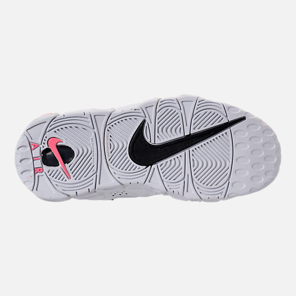 Bottom view of Kids' Grade School Nike Air More Money Basketball Shoes in White/Black/Coral/Chalk