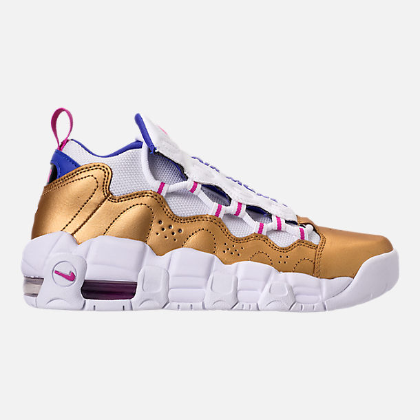 Right view of Big Kids' Nike Air More Money Basketball Shoes in White/Fuchsia Blast/Metallic Gold