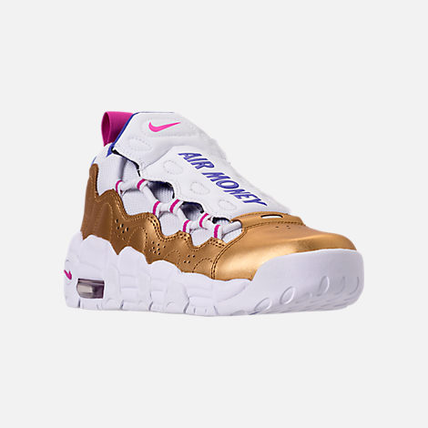 Three Quarter view of Big Kids' Nike Air More Money Basketball Shoes in White/Fuchsia Blast/Metallic Gold