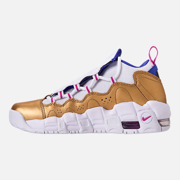 Left view of Big Kids' Nike Air More Money Basketball Shoes in White/Fuchsia Blast/Metallic Gold