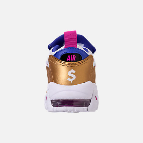 Back view of Big Kids' Nike Air More Money Basketball Shoes in White/Fuchsia Blast/Metallic Gold