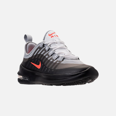 Three Quarter view of Kids' Grade School Nike Air Max Axis Running Shoes in Wolf Grey/Total Crimson/Black/Anthracite