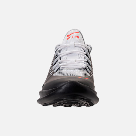 Front view of Kids' Grade School Nike Air Max Axis Running Shoes in Wolf Grey/Total Crimson/Black/Anthracite