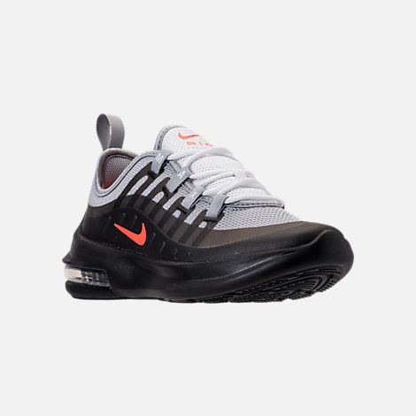 Three Quarter view of Boys' Preschool Nike Air Max Axis Running Shoes in Wolf Grey/Total Crimson/Black/Anthracite