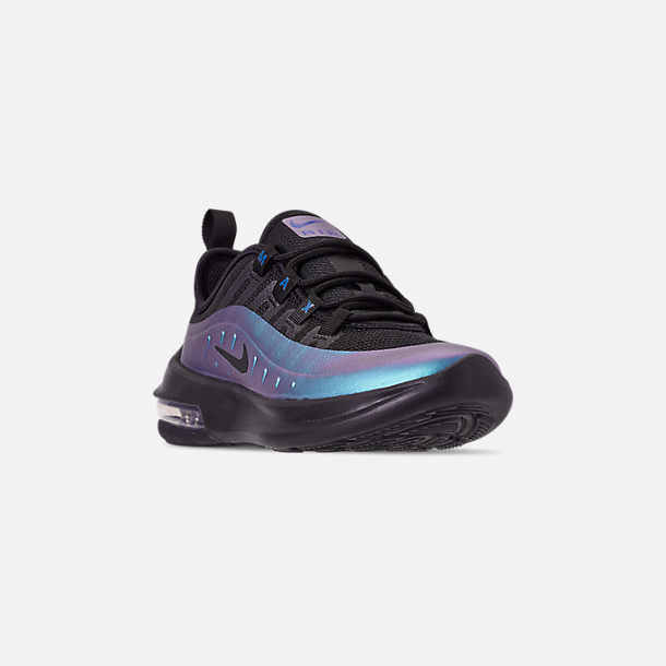 Three Quarter view of Little Kids' Nike Air Max Axis Casual Shoes in Black/Black/Racer Blue