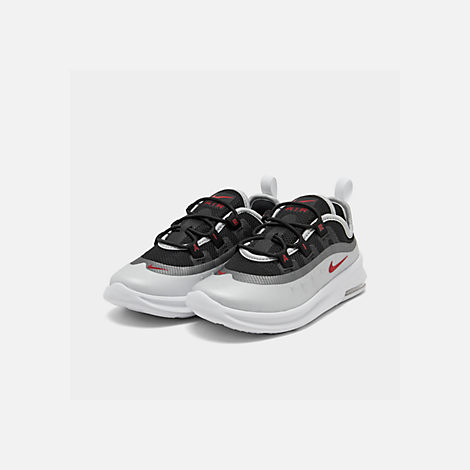 Three Quarter view of Kids' Toddler Nike Air Max Axis Casual Shoes in Black/Sport Red/Metallic Platinum/White