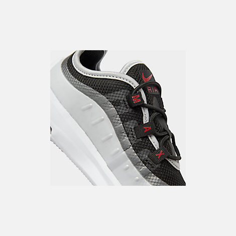 Front view of Kids' Toddler Nike Air Max Axis Casual Shoes in Black/Sport Red/Metallic Platinum/White