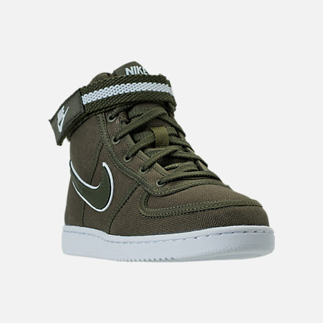 Three Quarter view of Boys' Preschool Nike Vandal High Supreme Casual Shoes in Cargo Khaki/White