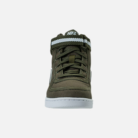 Front view of Boys' Preschool Nike Vandal High Supreme Casual Shoes in Cargo Khaki/White