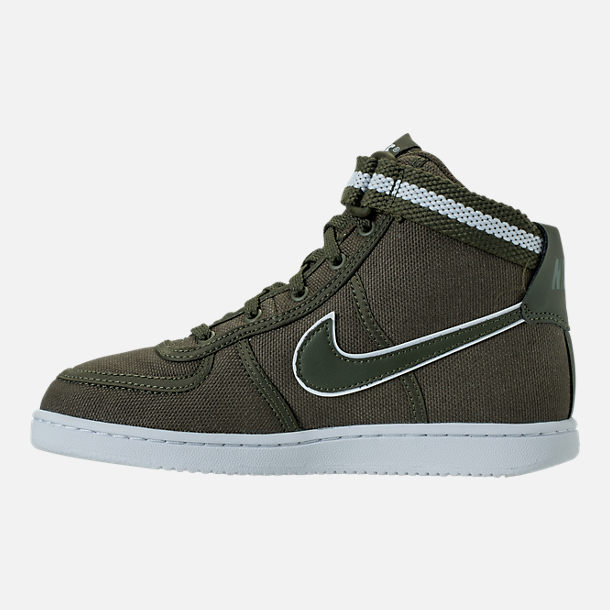 Left view of Boys' Preschool Nike Vandal High Supreme Casual Shoes in Cargo Khaki/White