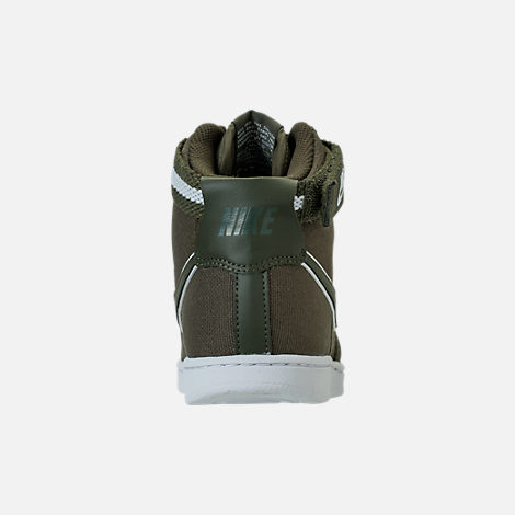 Back view of Boys' Preschool Nike Vandal High Supreme Casual Shoes in Cargo Khaki/White