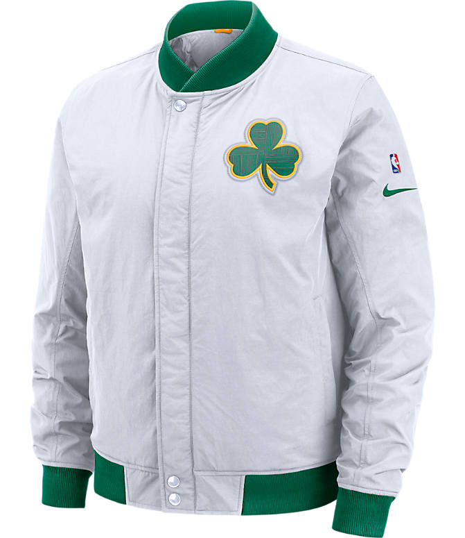 Front view of Men's Nike Boston Celtics NBA Courtside Jacket in White