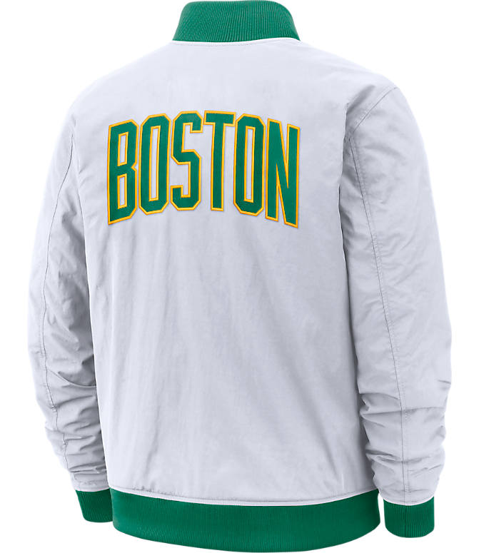 Back view of Men's Nike Boston Celtics NBA Courtside Jacket in White