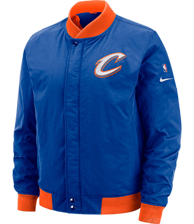 Front view of Men's Nike Cleveland Cavaliers NBA Courtside Jacket in Rush Blue